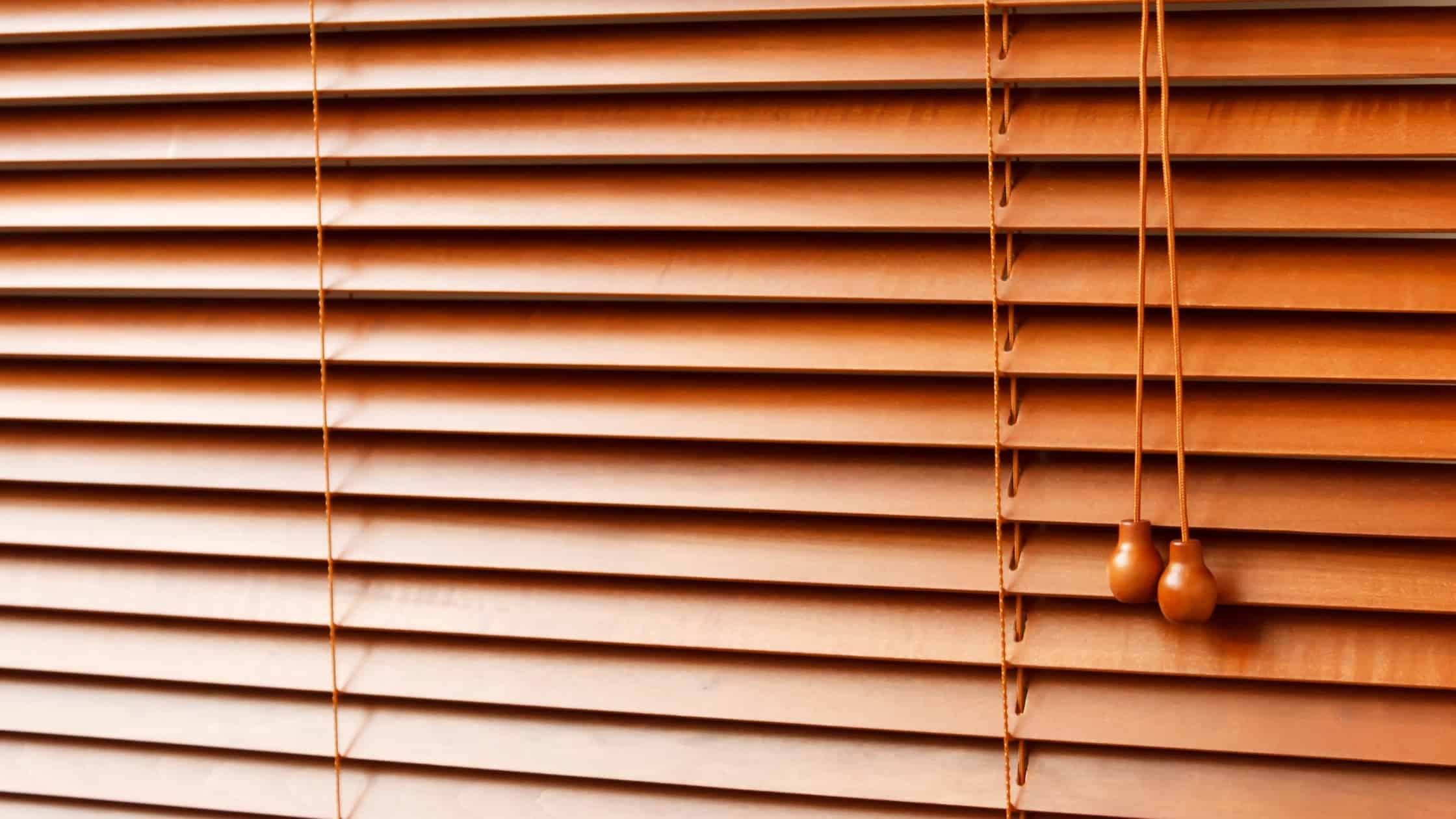 Classic brownish fake wood blinds for home decors